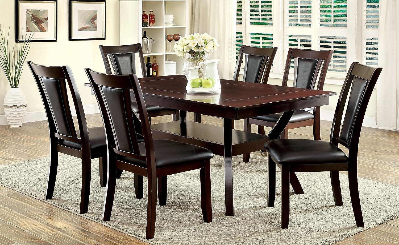 Amazon com furniture of america dalcroze 7 piece modern dining set dark cherry table chair sets