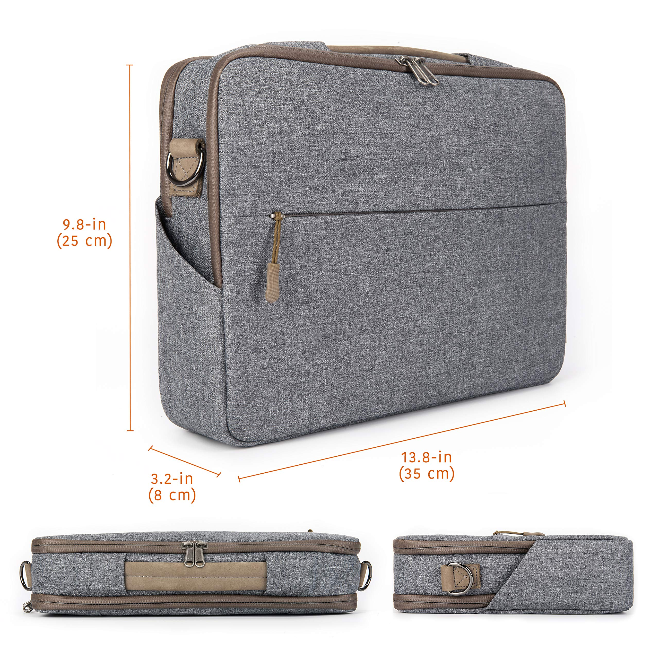 """Comfyable Laptop Bag 13 Inch, Computer Briefcase for Men with Organizer and Shoulder Strap for Travel and Business Shoulder Bag Fits 13.3"""" MacBook, Laptop, Tablet, Cool Grey by Comfyable (Image #6)"""