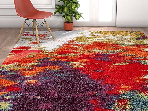 Evocative Saveur Modern Bright Multi ColorModern Abstract Geometric Shag 5 x 7 5'3″ x 7'3″ Area Rug Plush Carpet