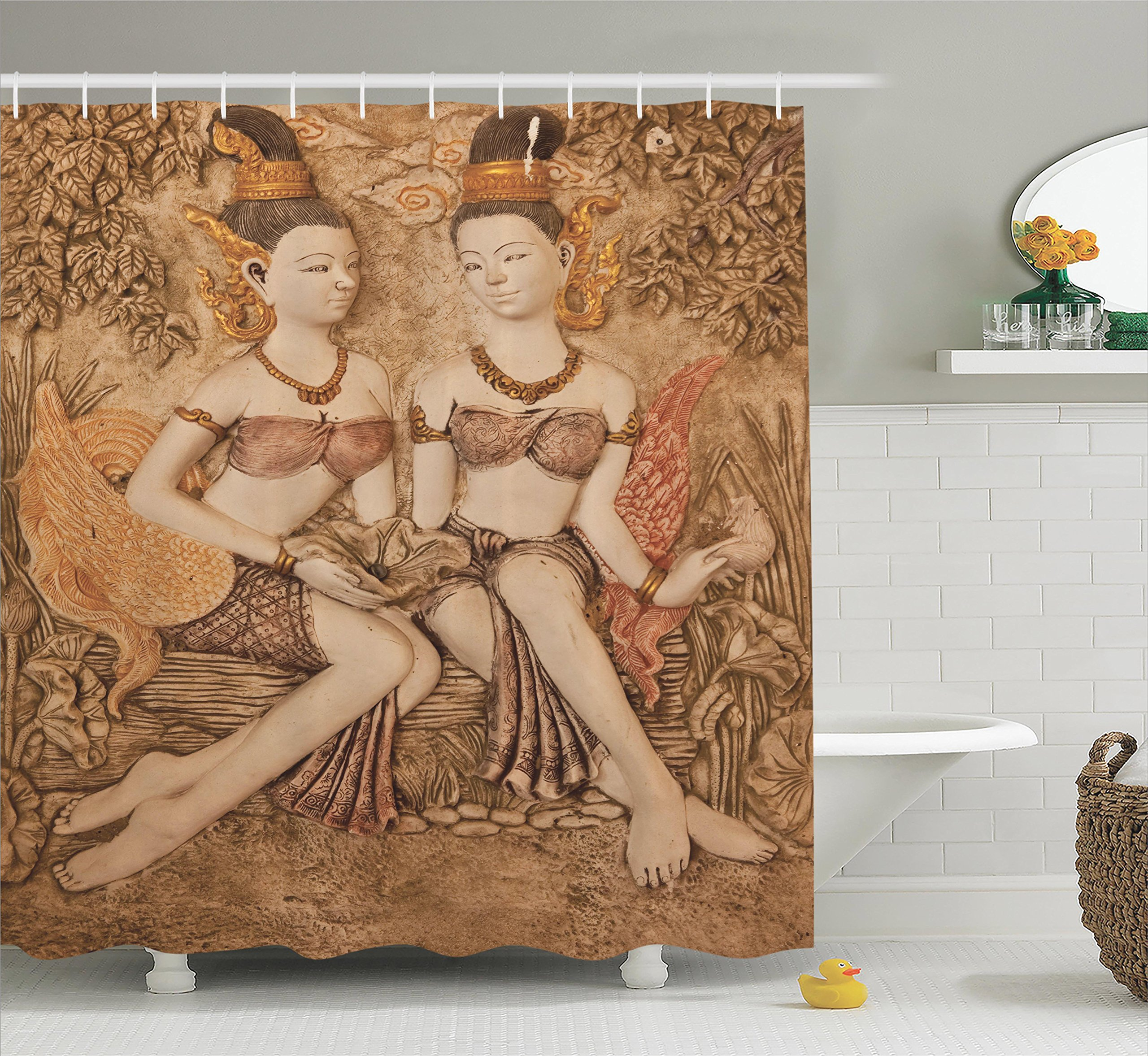 Ambesonne Sculptures Decor Collection, Native Thai Style Molding Art Asian Traditional Attire Temple Culture Image, Polyester Fabric Bathroom Shower Curtain, 84 Inches Extra Long, Bright Gold