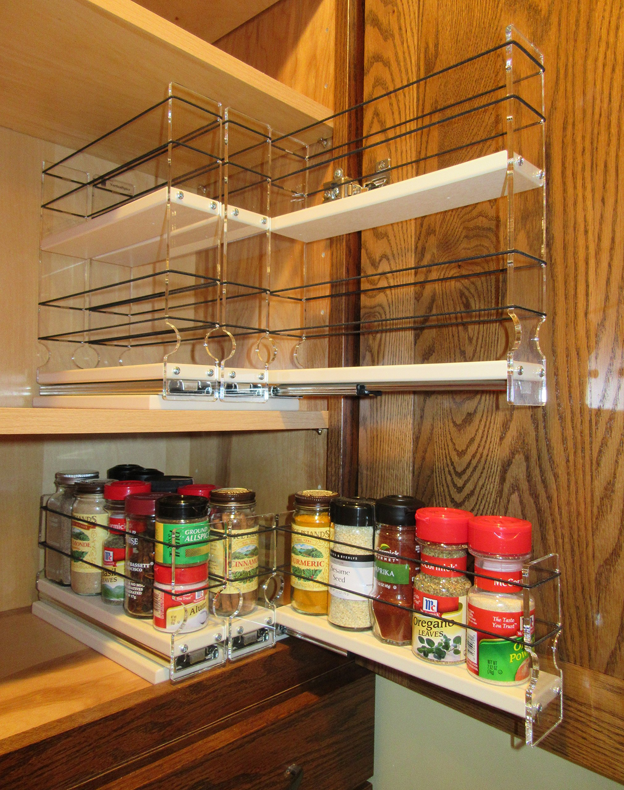 Vertical Spice - 222x1x11 DC - Spice Rack w/3 Drawers - 15 Capacity - New and Unique - Easy Access - 222 x 1 x 11 by Vertical Spice