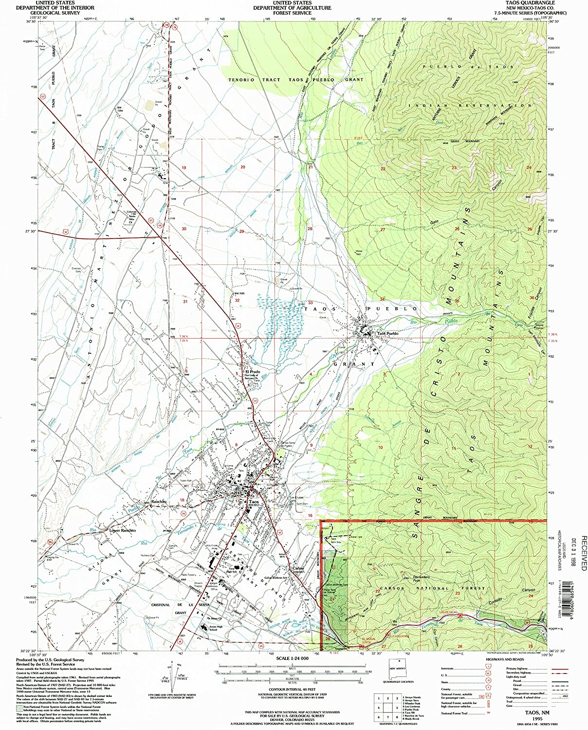 7.5 X 7.5 Minute Updated 2007 Historical 26.9 x 22.1 in 2006 YellowMaps Tijeras NM topo map 1:24000 Scale