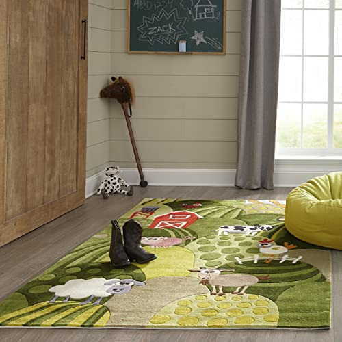 Momeni Rugs Lil Mo Whimsy Collection, Kids Themed Hand Carved Tufted Area Rug, 8 x 10 , Grass Green