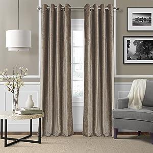 "Elrene Home Fashions Victoria Velvet Room Darkening Window Curtain Panel, 52"" x 84"" (1, Taupe"