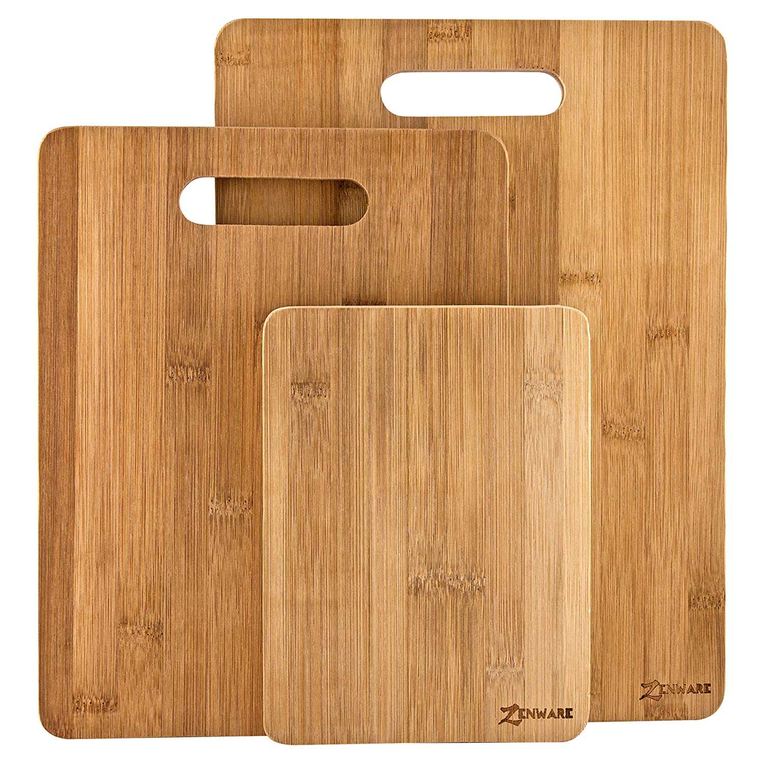 Zenware 3 Piece Triple-Ply Warp Resistant All Natural Bamboo Cutting Board Set – Small SYNCHKG078404