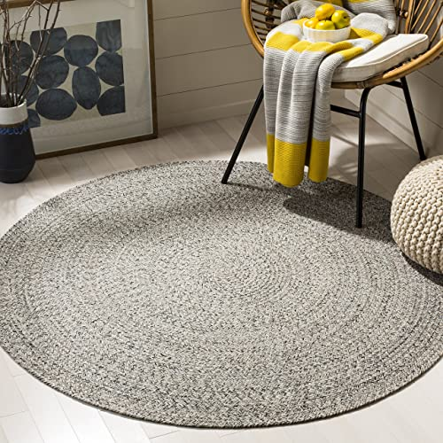 Safavieh Braided Collection Ivory and Steel Grey Round Area Rug, 4 Diameter