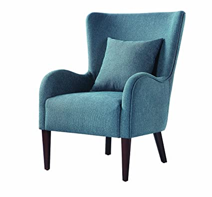Fine Amazon Com Scott Living Curving Arms Accent Chair Blue And Andrewgaddart Wooden Chair Designs For Living Room Andrewgaddartcom