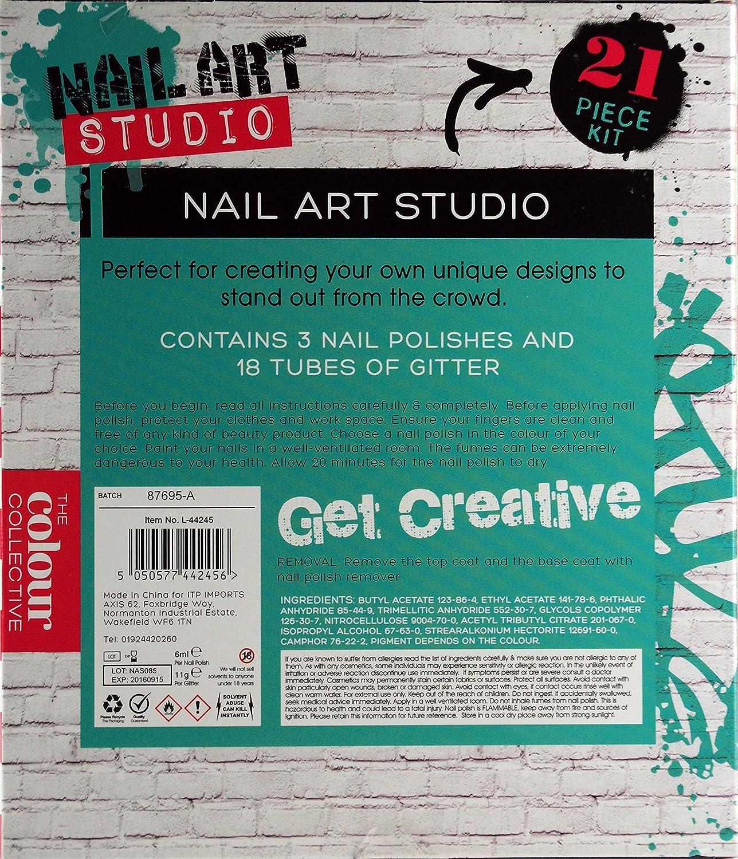 Nail Art Studio 21 Piece Glitter Studs and Nail polish Dazzling Gift ...