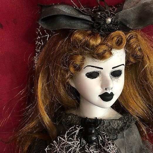 OOAK Gothic Spider Veil Creepy Horror Doll Art by Christie Creepydolls