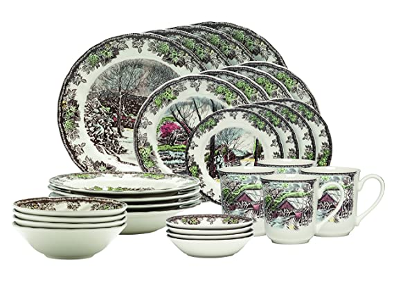 Johnson Brothers Friendly Village 28-Piece Set best Christmas plate sets