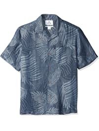 ba8ea9f6f Amazon Brand - 28 Palms Men's Relaxed-Fit Silk/Linen Tropical Leaves  Jacquard Shirt