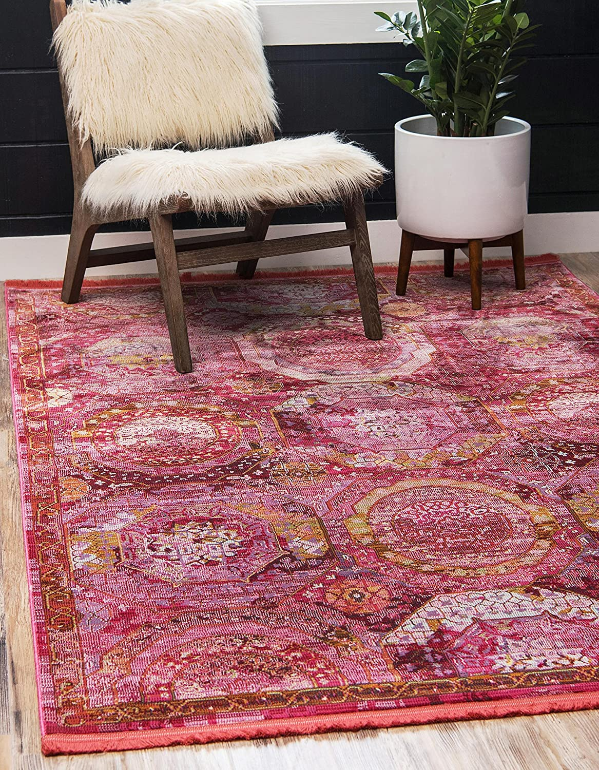 Pink 2' x 3' Unique Loom Baracoa Collection Bright Tones Vintage Traditional Light bluee Runner Rug (3' x 10')