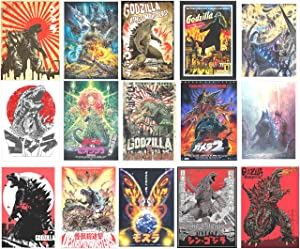 """H2 Studio Vintage Godzilla Sticker, Vinyl Godzilla Poster with Vibrant Color, Adhesive, Easy to Install for Decorating Laptop, Notebook, Bedroom Wall, Smartphone, 3""""x5"""", Pack of 16"""