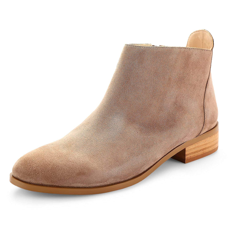 ABUSA Women's Retro Fashion Leather Platform Ankle Boots