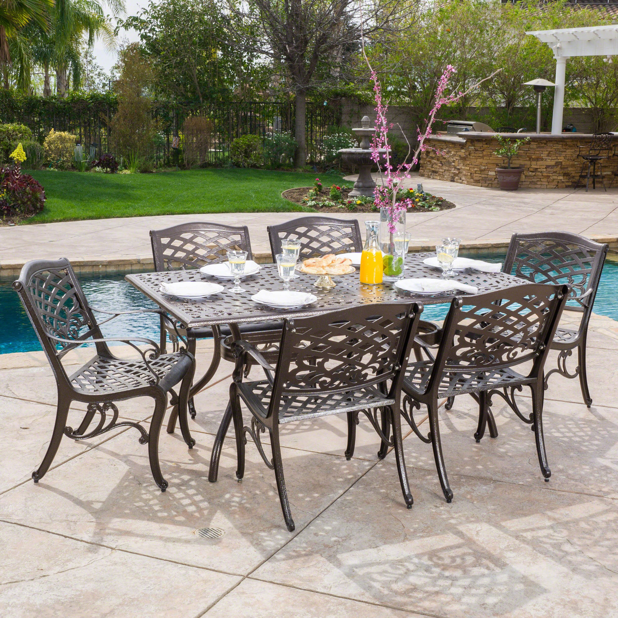 Great Deal Furniture Odena | 7 Piece Outdoor Rectangular Dining Set | Cast  Aluminum | With Hammered Bronze Finish