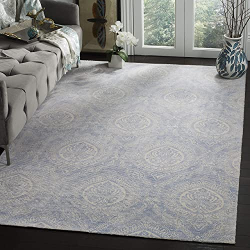 Safavieh MRB405M-8 Marbella Collection Blue and Ivory Premium Wool Area Rug