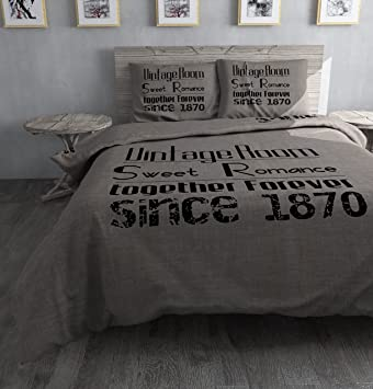 Sleeptime Housse De Couette Vintage Room 200x200220 Brun Avec