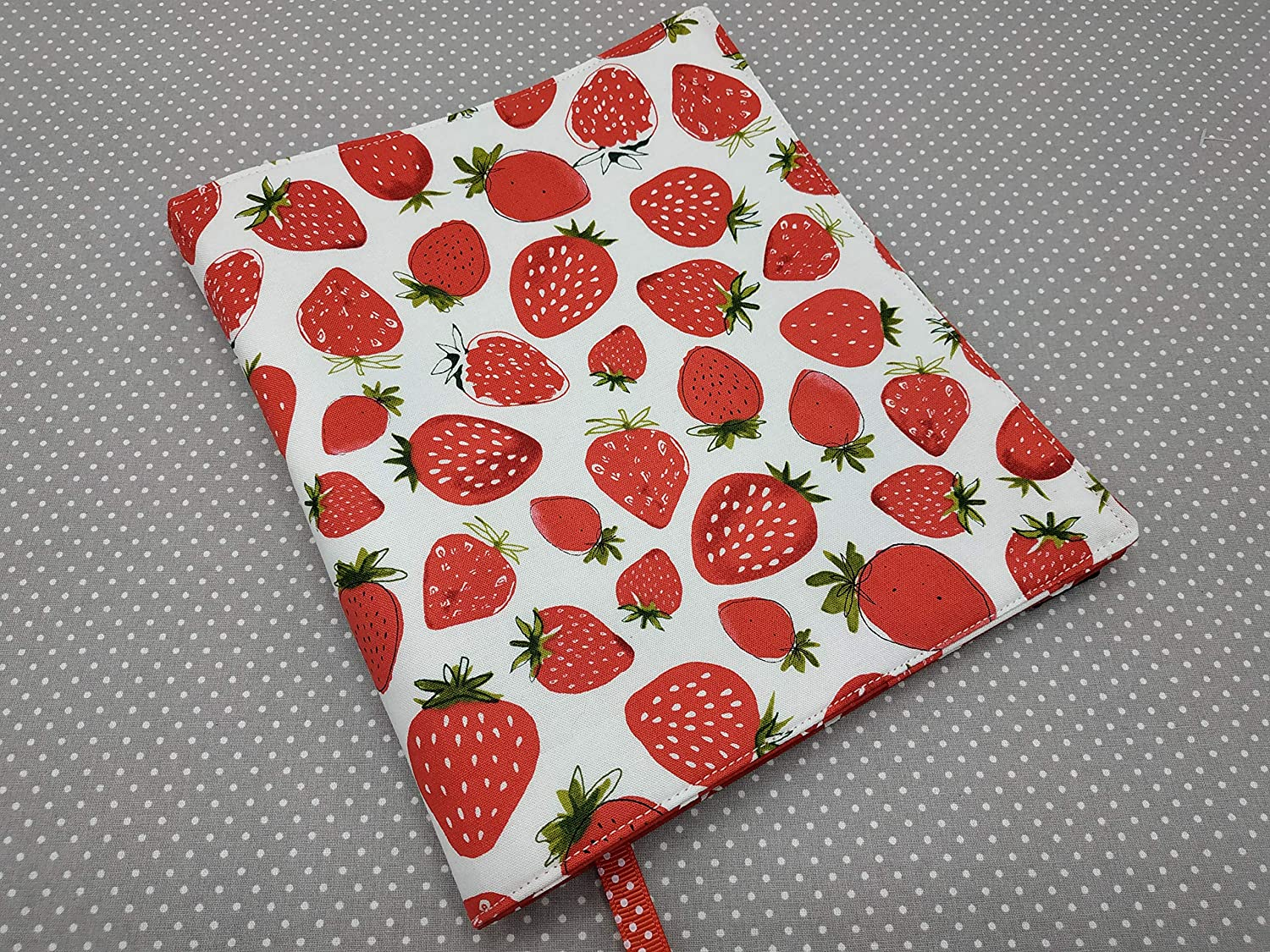 book case diary cover book buddy book bag Strawberries Adjustable book cover book sleeve A5