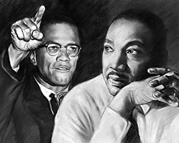 Malcolm X, Martin Luther King, Jr. Poster Painting 100% Handmade Pastel Drawing
