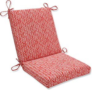 "Pillow Perfect Outdoor/Indoor Herringbone Tomato Square Corner Chair Cushion, 36.5"" x 18"", Red"