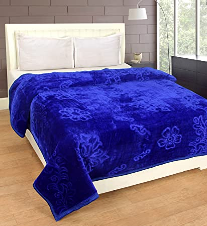 Cozyland Mink Embossed Solid Polyester Double Blanket - Blue