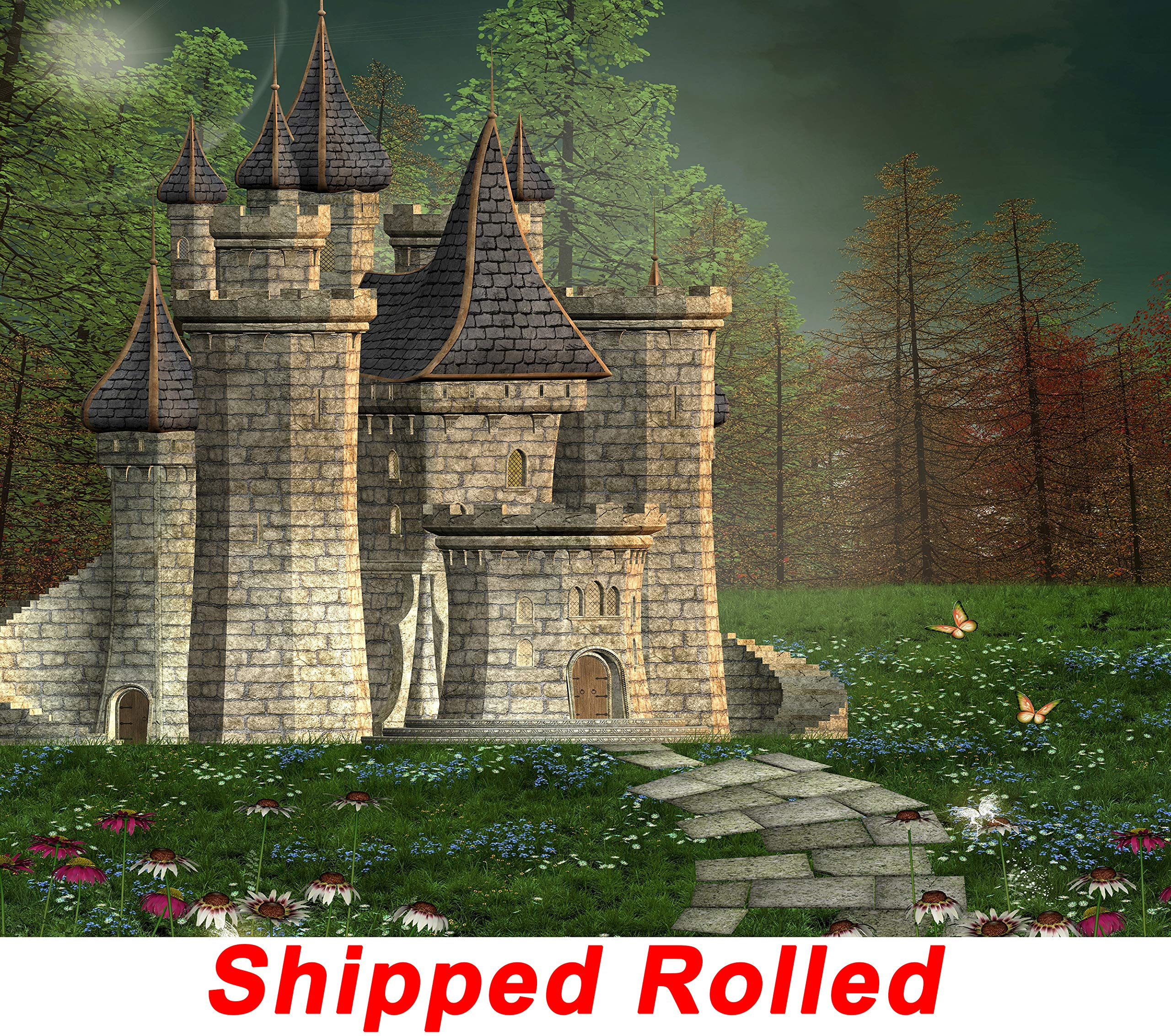 Old Castle Backdrop Chic Dark Enchanted Forest Fairy Tale Natural Scenic Butterfly Flowers Scene Princess Birthday Party Printed Fabric Photography Background (G0107, 10' Wide by 8' Tall)