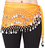 HOTER® - Cintura per danza del ventre in chiffon con monete d'argento pendenti alla moda
