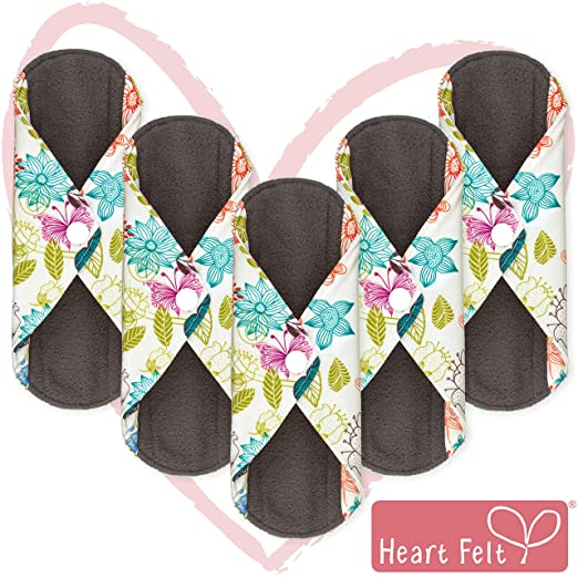Sanitary Reusable Cloth Menstrual Pads by Heart Felt | 5 Pack Washable Sanitary Napkins with Charcoal Absorbency Layer - Overnight Long Panty Liners for Comfort and Support Best Natural Period Products