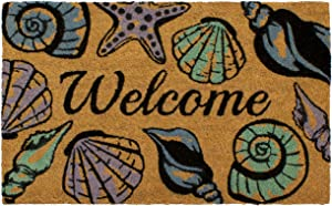 """Storm Stopper Seashell Welcome Printed Coir Mat, 18"""" x 28"""""""