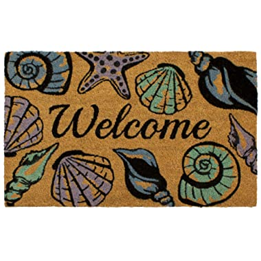 Storm Stopper Seashell Welcome Printed Coir Mat, 18  x 28 , Natural/Blue/Black
