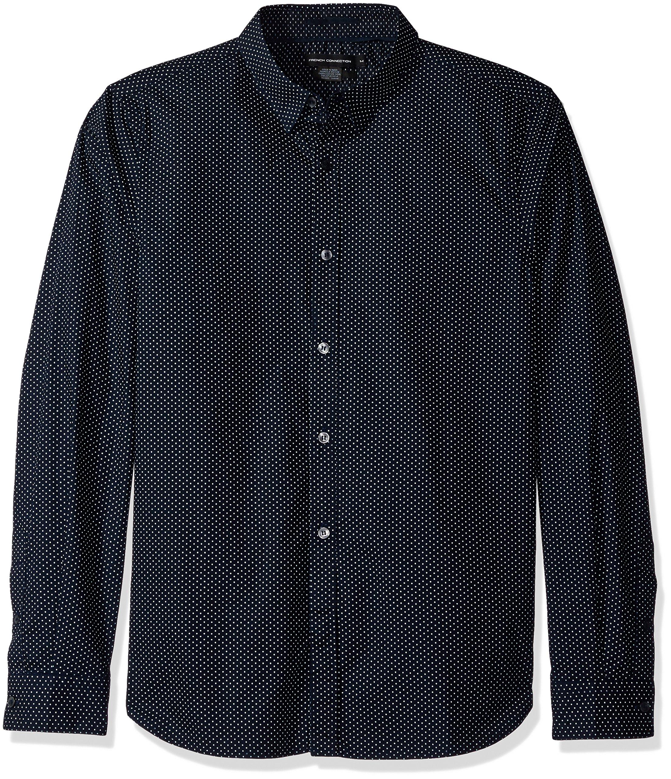 French Connection Men's Summer Dot Shirt, Marine Blue/White, L