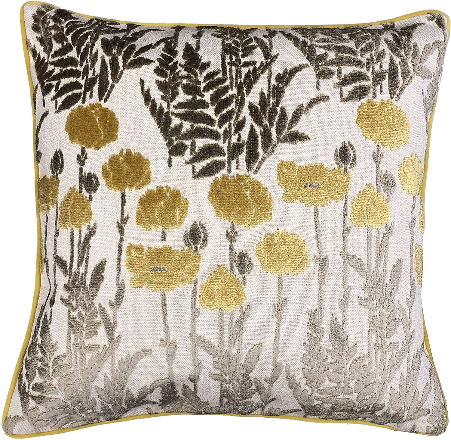 Amazon Com Rodeo Home Camelia Decorative Floral Cut Velvet Square Throw Pillow With 100 Feather Fill Insert For Sofa Couch Bed 23 X23 Mustard 23x23 Home Kitchen