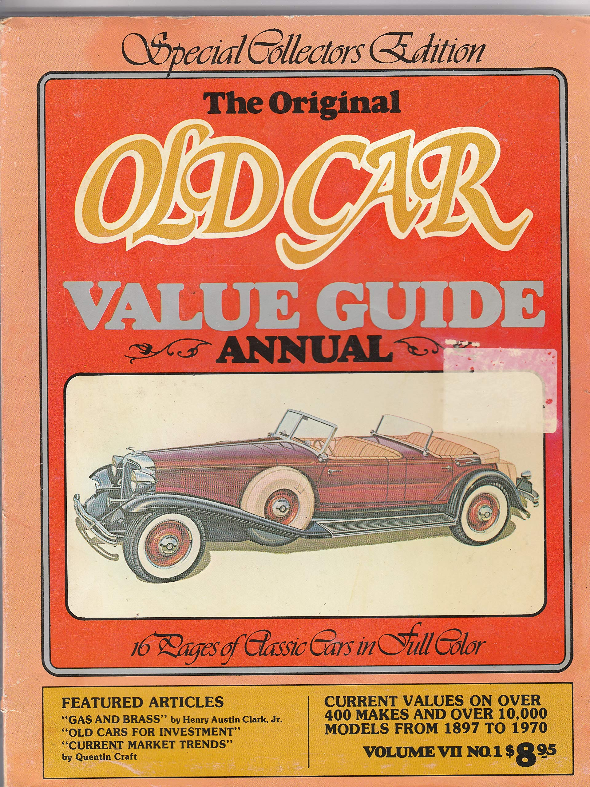 Collector Car Values >> Original Old Car Value Guide Annual Collector S Edition