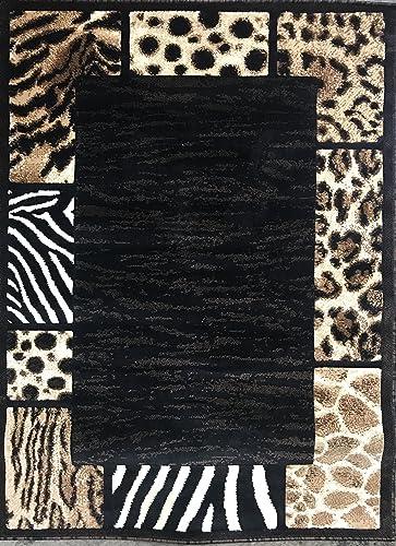 Skinz Animal Skin Leopard Tiger Zebra Border Area Rug Black Design 73 5 Feet X 7 Feet