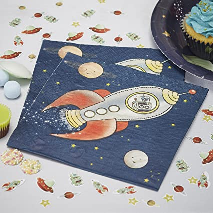Ginger Ray Space Adventure Party Spaceship Paper Kids Napkins 20 Pack