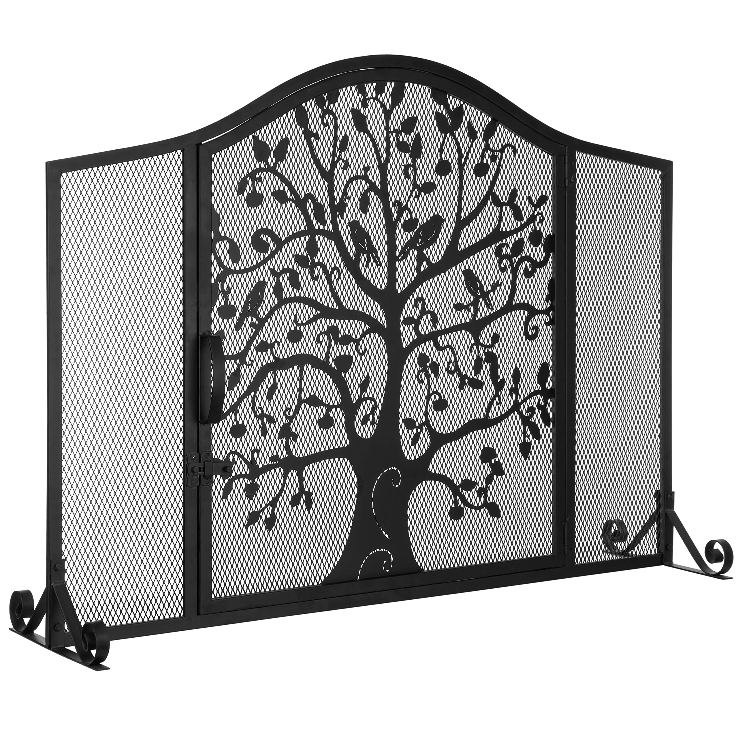 MyGift Black Wrought Iron Fireplace Screen Door with Silhouette Tree & Bird Design by MyGift