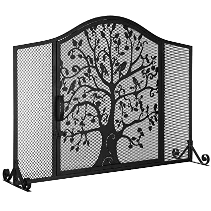 Mygift Black Wrought Iron Fireplace Screen Door With Silhouette Tree Bird Design