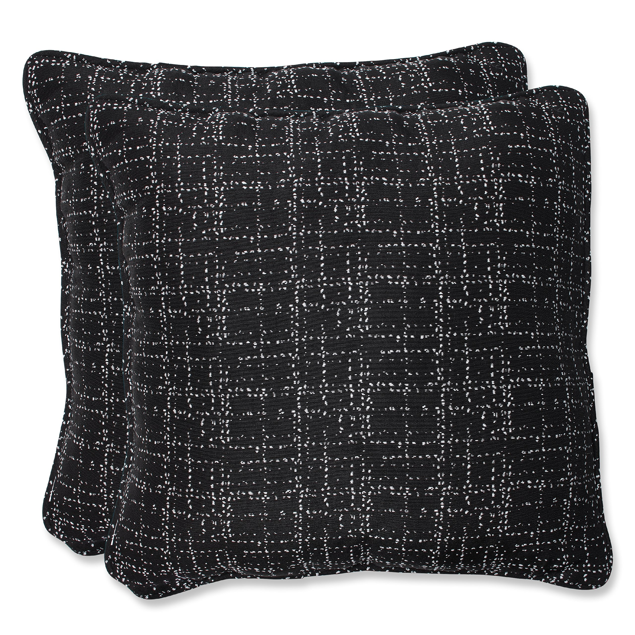 Pillow Perfect Throw Pillow with Bella-Dura Conran Black Fabric, 18.5-Inch, Set of 2