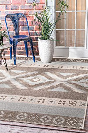 Nuloom Arianna Ikat Indoor Outdoor Area Rug 7 10 X 11 2 Grey Furniture Decor
