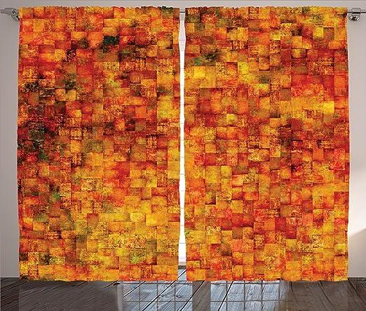 Amazon.com: Burnt Orange Decor Curtains by Ambesonne, Vintage ...