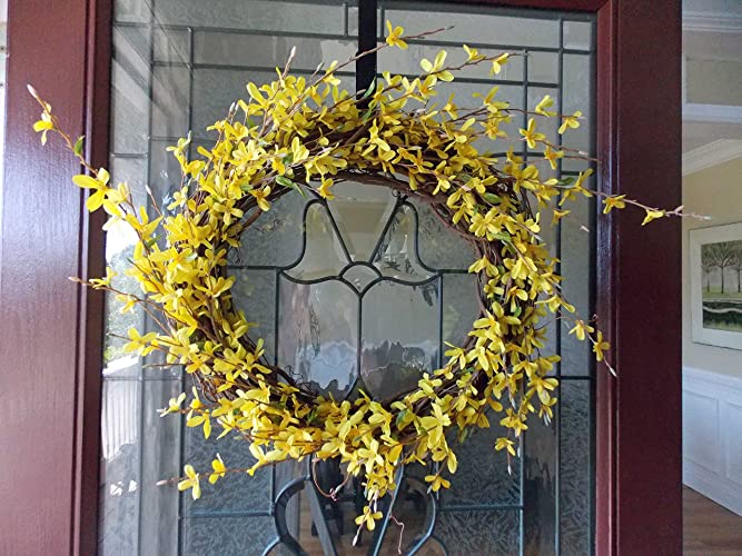 Handmade Yellow Forsythia Wreath For Front Door Porch Indoor Outdoor Wall  Decor Spring Springtime Summer Summertime