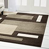 "Home Dynamix Sumatra Tarragon Area Rug | Contemporary Dining Room Rug | Modern Geometric Design | Soft and Plush Texture | Dark Brown 7'8"" x10'2"