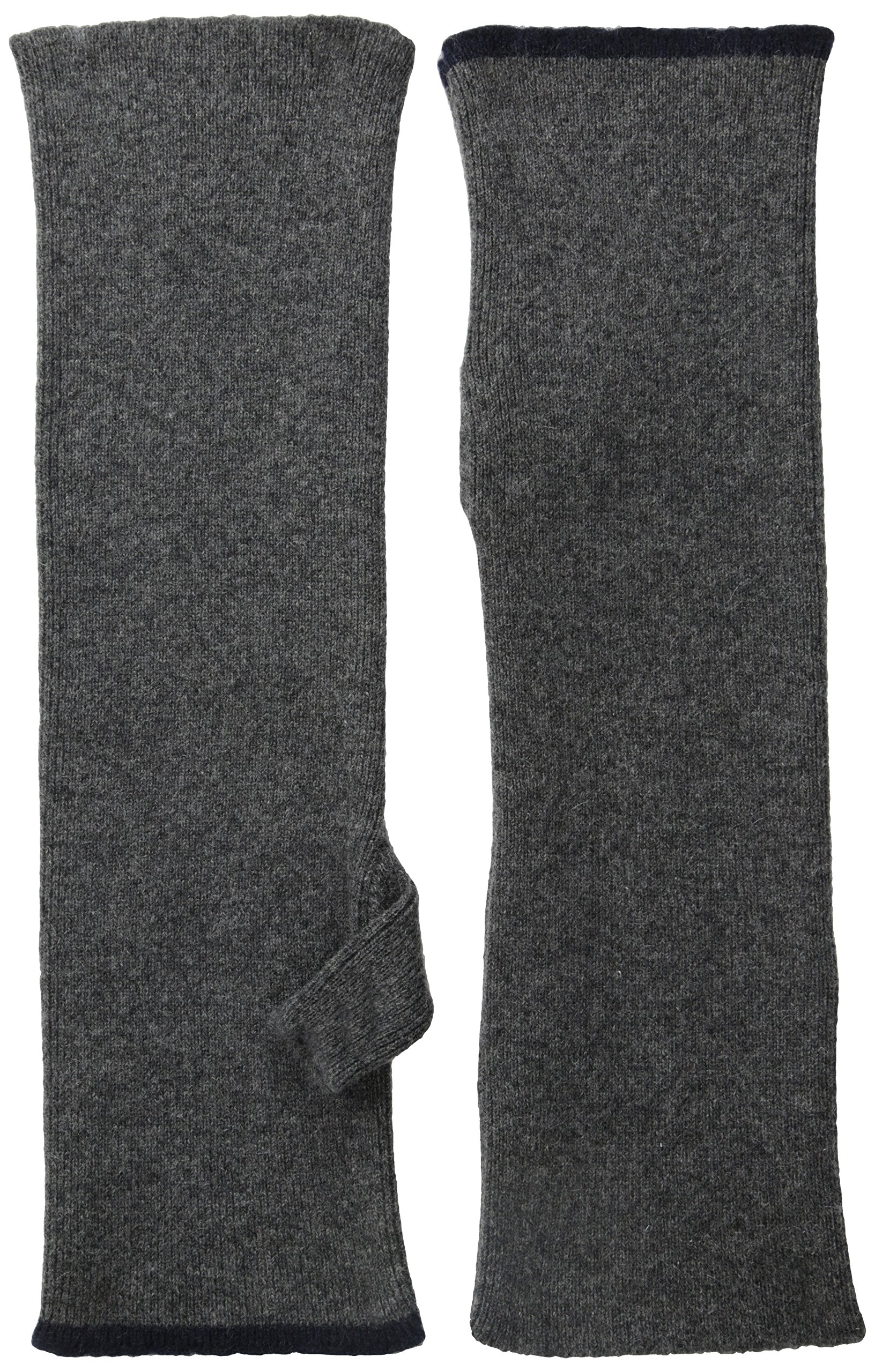 Marc Jacobs Men's Washed Cashmere Wrist Warmer with Contrast Stripe, Charcoal/Black, Large