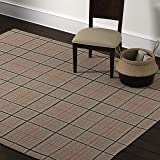 Amazon Brand – Stone & Beam Casual Plaid Area Rug, 8 x 10 Foot, Flatweave, Grey, Ivory, Red