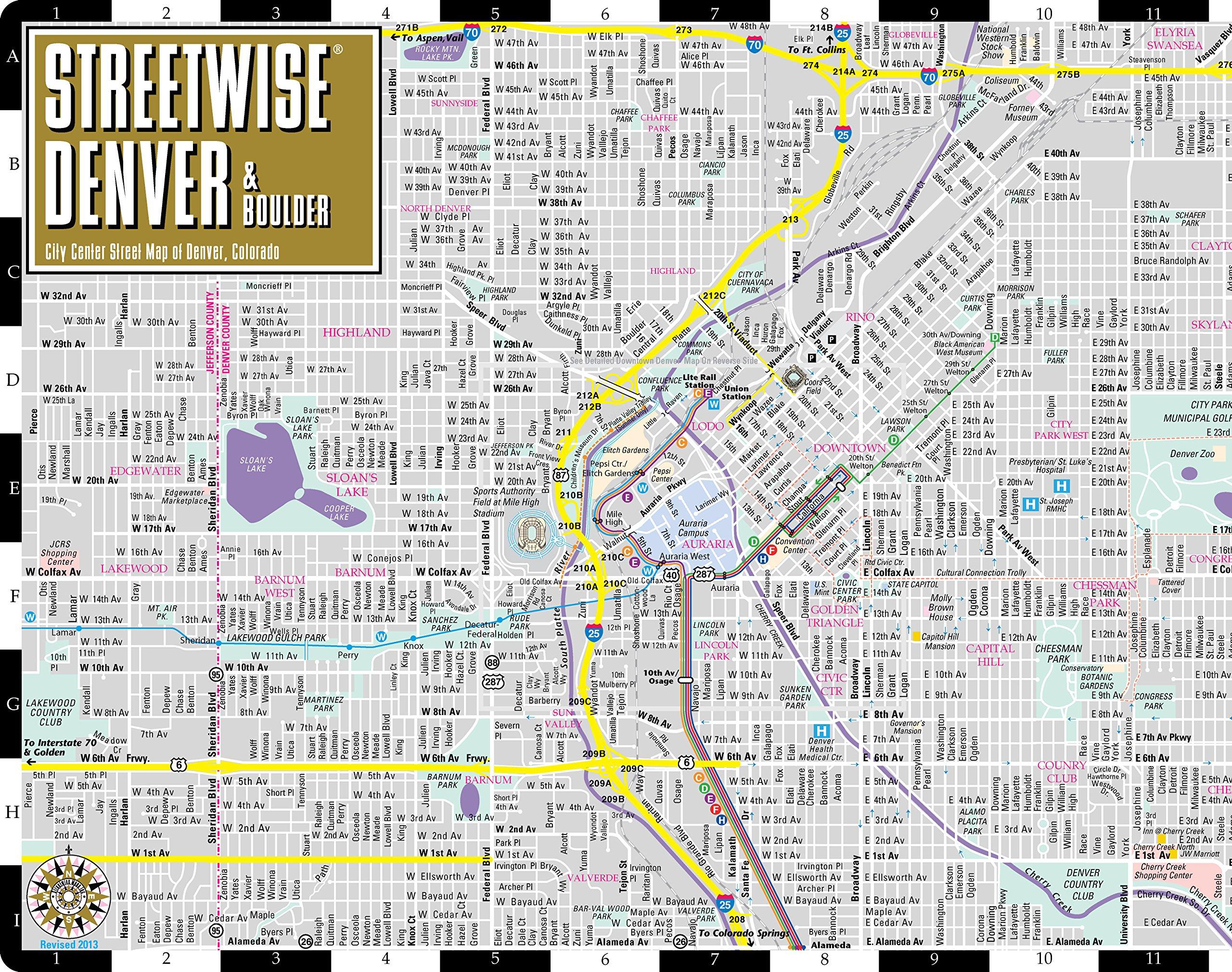 street map of denver Streetwise Denver Map Laminated City Street Map Of Denver street map of denver