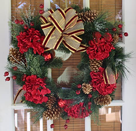 Cambridge Decorated Christmas Wreath With Bow 22 Inch - All Weather Outdoor Artificial Wreath That Lasts & Amazon.com: Cambridge Decorated Christmas Wreath With Bow 22 Inch ...