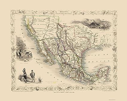 Amazon Com Old North America Map Mexico California Texas