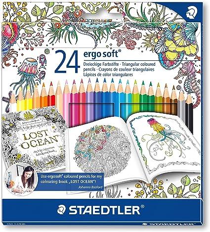 Image ofStaedtler Ergosoft 157 - Pack de 24 lápices de color (triangulares, 3 mm, 17.5 cm), color azul
