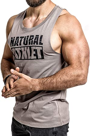 Herren Muskelshirt Tanktop Gym Fitness Sport Weste T-Shirt Bodybuilding Obe Grau