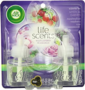Air Wick Life Scents, Scented Oil Plug in Air Freshener Refills, Marshmallow Raspberry and Rose, 2 Count